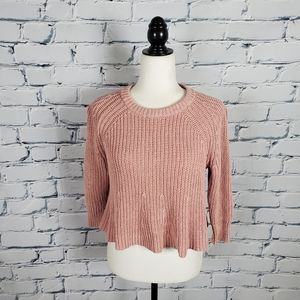 Madewell Pink Knit Swing Crewneck Sweater
